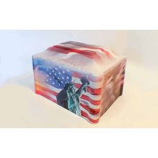 Cultured Marble Vinyl-Wrapped Urn/Vault - American/Patriotic