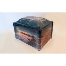 Cultured Marble Vinyl-Wrapped Urn/Vault - Fishing/Fisherman