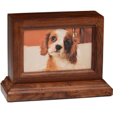"4"" x 6"" Wooden Photo Frame Pet Urn w/ Base in Rosewood"