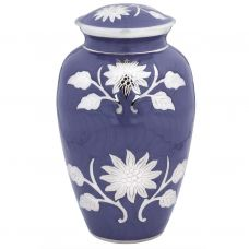 Purple Colored Brass Cremation Urn w/ Flowers - Adult