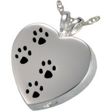 Stainless Steel Cremation Urn Pendant w/ Chain - Heart - Paw Prints