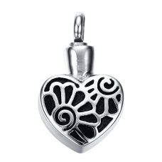 Stainless Steel Cremation Urn Pendant w/ Chain - Heart - Flowers