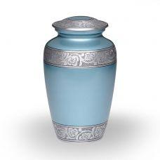 Alloy Cremation Urn Blue Flower Band - Adult