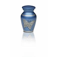 Alloy Cremation Urn in Beautiful Blue w/ Butterfly - Keepsake