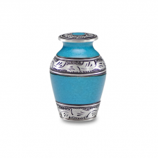 Alloy Cremation Urn in Beautiful Turquoise Blue - Keepsake