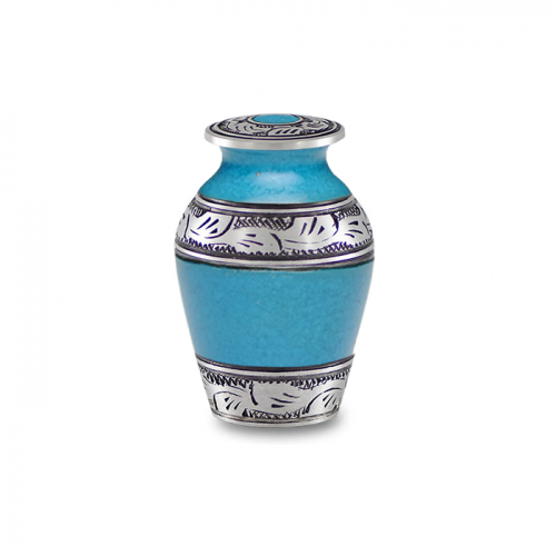 Alloy Cremation Urn in Beautiful Turquoise Blue - Keepsake -  - A-1489-K-TURQ-NB