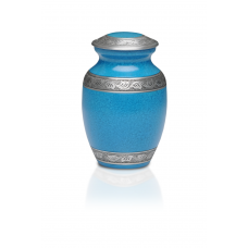 Alloy Cremation Urn in Beautiful Turquoise Blue- Medium