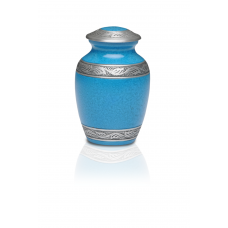 Alloy Cremation Urn in Beautiful Turquoise Blue- Small