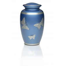 Alloy Cremation Urn in Blue w/ Butterflies - Adult