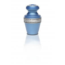 Alloy Cremation Urn in Ocean Blue w/ Pewter Band - Keepsake