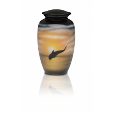 Alloy Cremation Urn in w/ Jumping Dolphin Design - Adult