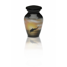 Alloy Cremation Urn in w/ Jumping Dolphin Design - Keepsake