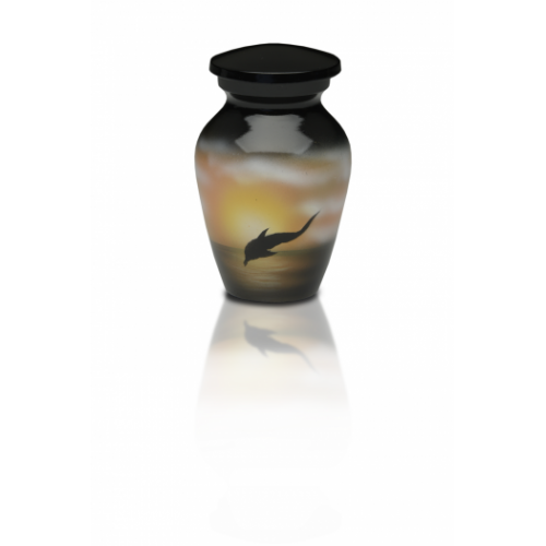 Alloy Cremation Urn in w/ Jumping Dolphin Design - Keepsake -  - A-2421-K-NB