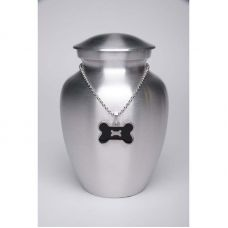 Alloy Cremation Urn Silver Color - Medium Black Bone-Shaped Medallion