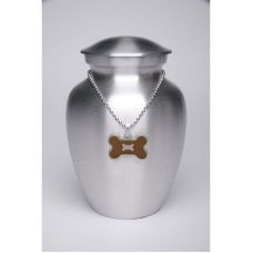 Alloy Cremation Urn Silver Color - Medium Brown Bone-Shaped Medallion