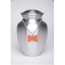 Alloy Cremation Urn Silver Color - Medium Orange Bone-Shaped Medallion
