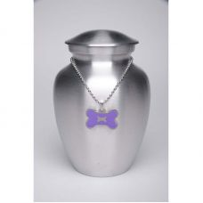 Alloy Cremation Urn Silver Color - Medium Purple Bone-Shaped Medallion