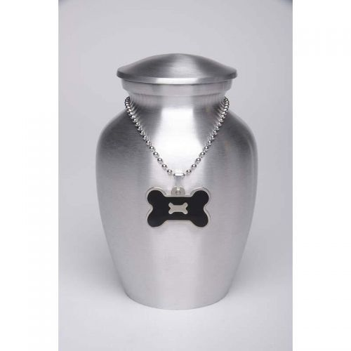 Alloy Cremation Urn Silver Color - Small - Black Bone-Shaped Medallion -  - AU-CLB-S-BB-Black