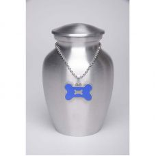 Alloy Cremation Urn Silver Color - Small - Blue Bone-Shaped Medallion