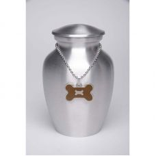 Alloy Cremation Urn Silver Color - Small - Brown Bone-Shaped Medallion