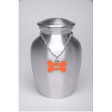 Alloy Cremation Urn Silver Color Small Orange Bone-Shaped Medallion
