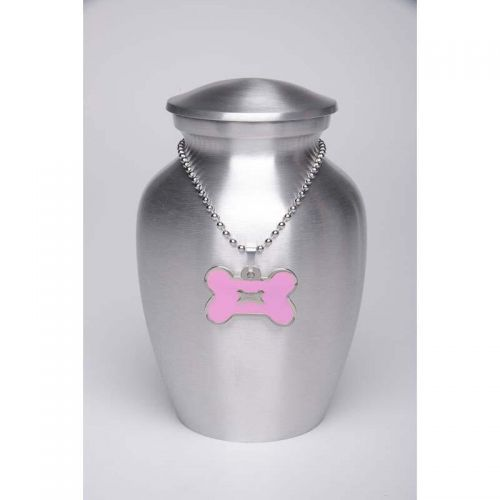 Alloy Cremation Urn Silver Color - Small - Pink Bone-Shaped Medallion -  - AU-CLB-S-BB-Pink