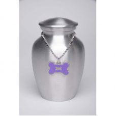 Alloy Cremation Urn Silver Color Small Purple Bone-Shaped Medallion