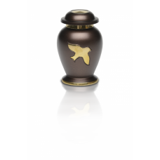 Avondale Keepsake Urn w/ Bird in Flight in Beautiful Espresso Brown