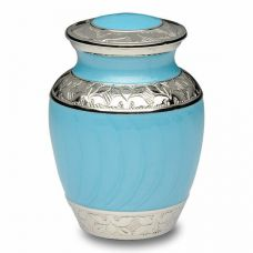 Blue Enamel and Silver Color Cremation Urn - Extra Small