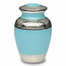 Blue Enamel and Silver Color Cremation Urn - Small