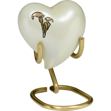 Brass Urn in Pearl White w/ Golden Calla Lily - Heart Keepsake