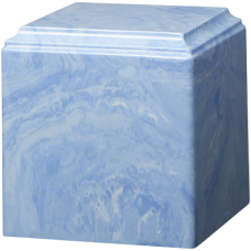 Cube Cultured Marble Adult Urn Wedgewood Blue