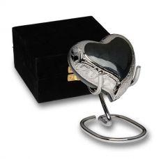 Elegant Charcoal Gray Enamel and Silver Color Urn Heart Keepsake