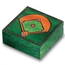 Hand-Made Linden Wood Cremation Urn Box - Baseball