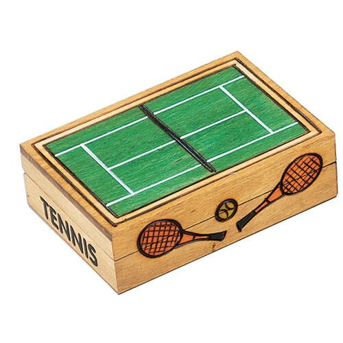 Hand-Made Linden Wood Cremation Urn Box - Tennis Court -  - 7656