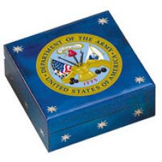 Hand-Made Linden Wood Cremation Urn Box - U.S. ARMY