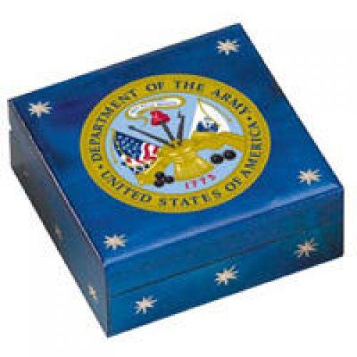 Hand-Made Linden Wood Cremation Urn Box - U.S. ARMY -  - 7981
