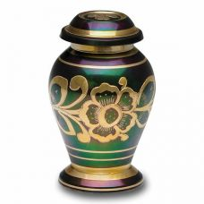 Iridescent Green Cremation Urn w/ Shamrock Design - Keepsake