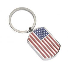 Key Chain Stainless Steel Cremation Urn Key Chain - Dog Tag - USA Flag