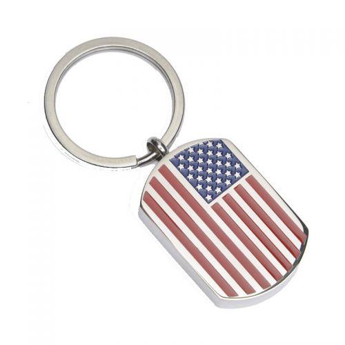 Key Chain Stainless Steel Cremation Urn Key Chain - Dog Tag - USA Flag -  - J-671-Key Chain
