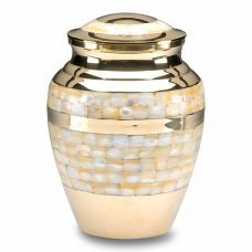 Mother of Pearl Cremation Urn in Brass w/ Nickel - Adult - Imperfect