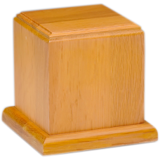 Oak Wood Cube Urn - Small - HB-105-Oak