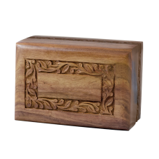 Rosewood Urn w/ Hand-Carved Border- Medium Size