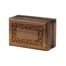 Rosewood Urn w/ Hand-Carved Border- Small Size