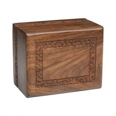 Rosewood Urn w/ Hand-Carved Border - TC Size - Engravable