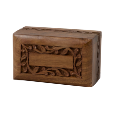 Rosewood Urn w/ Hand-Carved Border- X-Small Size