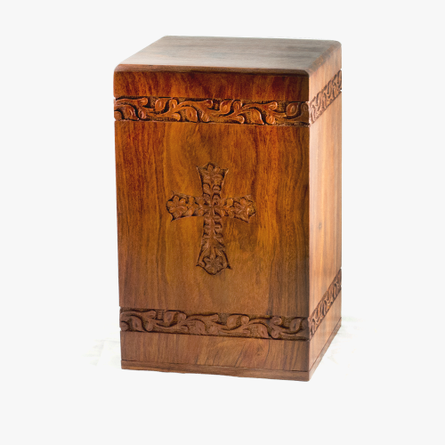 Rosewood Urn w/ Hand-Carved Cross Design - Adult -  - RW-Tower Cross