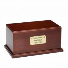 Solid Birch Wood Urn in Cherry w/ Engraved Plate - A001 - 300 cu. in.