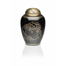 Solid Brass Crematon Urn w/ Hand-Etched Pug - Medium