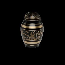 Solid Brass Urn w/ Hand-Cut Black and Gold Design - Keepsake